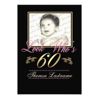 Look Who's 60 Photo Custom Announcement
