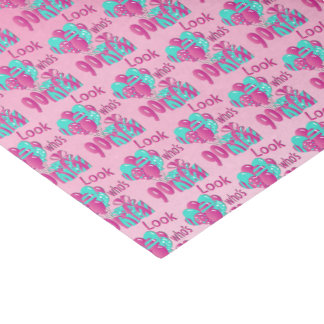 Look Who's 90   90th Birthday2 Pink and Turquoise Tissue Paper