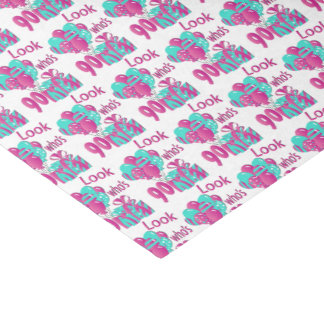 Look Who's 90   90th Birthday 2 - Pink & Turquoise Tissue Paper
