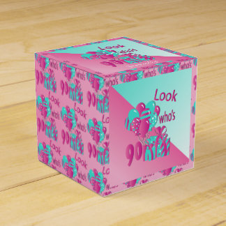 Look Who's 90   90th Birthday - Pink and Turquoise Favour Box