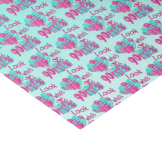 Look Who's 90   90th Birthday - Pink and Turquoise Tissue Paper