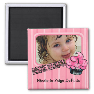 Look Who's Having A Pink Birthday! Square Magnet