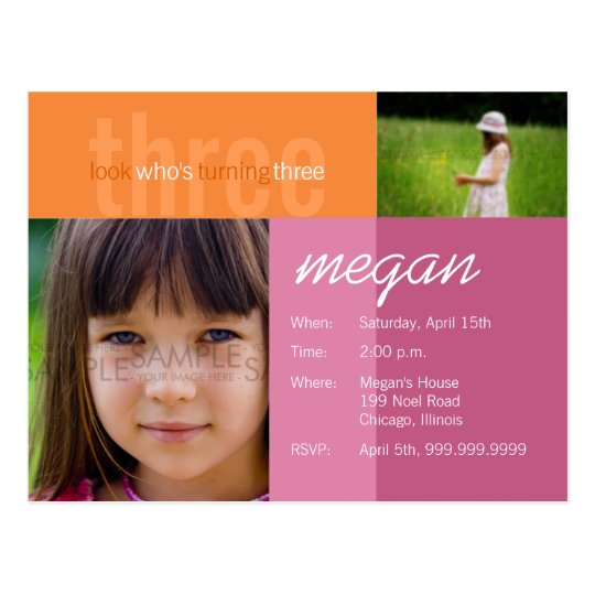 look who's turning three • Birthday Invitation Postcard