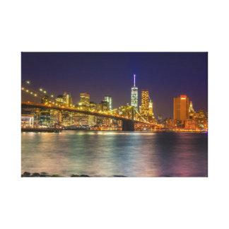 Looking at Manhattan from close to Brooklyn Bridge Canvas Print