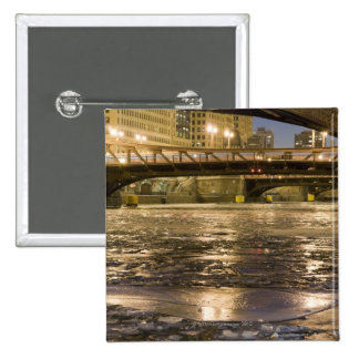 Looking down the frozen Chicago River in 15 Cm Square Badge