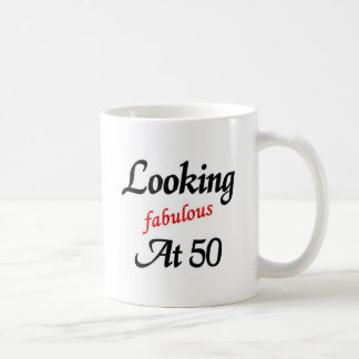 Looking fabulous at 50 classic white coffee mug