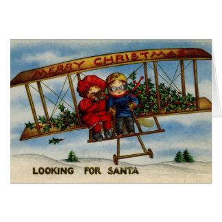 Looking For Santa Vintage Christmas Card