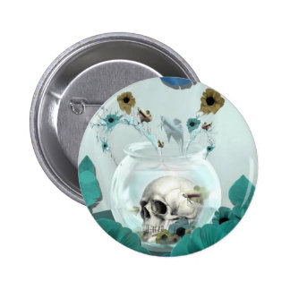Looking glass, skull in fish bowl 6 cm round badge