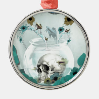 Looking glass, skull in fish bowl christmas ornaments