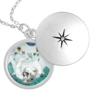 Looking glass, skull in fish bowl locket necklace