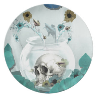 Looking glass, skull in fish bowl plates