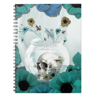 Looking glass, skull in fish bowl spiral notebooks