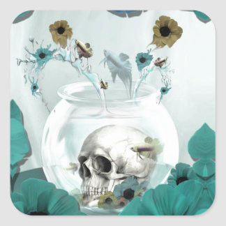 Looking glass, skull in fish bowl square sticker
