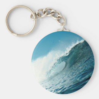 Looking into the eye of a breaking wave basic round button key ring
