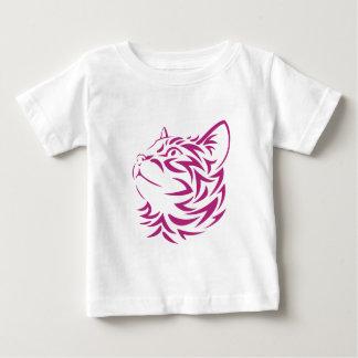 Looking Left Cat Kitten Face Stencil Baby T-Shirt