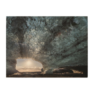 Looking out an ice cave, Iceland Wood Wall Decor