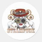 looking steampunked steampunk collage art classic round sticker