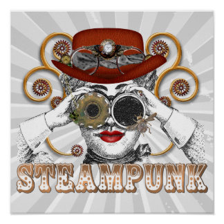 looking steampunked steampunk collage art print