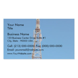 Looking up at communication tower business card