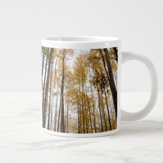 Looking Up at Tall Skinny Trees During Fall Large Coffee Mug
