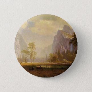 Looking Up the Yosemite Valley - Albert Bierstadt 6 Cm Round Badge
