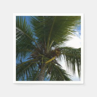 Looking Up to Coconut Palm Tree Tropical Nature Disposable Serviettes