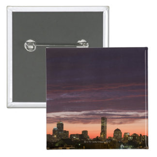 Looking west from South Boston at sunset 15 Cm Square Badge