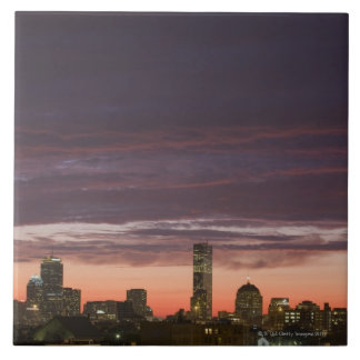 Looking west from South Boston at sunset Large Square Tile