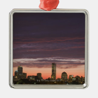 Looking west from South Boston at sunset Silver-Colored Square Decoration