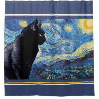 Lookout Kitty:  Starry Night Shower Curtain