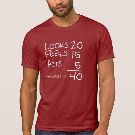 Looks, Feels, Acts 40 Birthday Tee