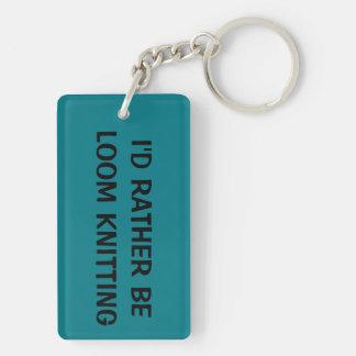 Loom knitter key chain, teal Double-Sided rectangular acrylic key ring