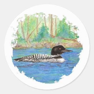 Loon, Bird, Wilderness, Nature, Classic Round Sticker