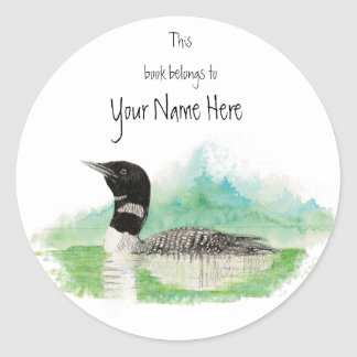Loon Book Plate to Customize Classic Round Sticker