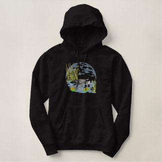 Loon Scene Embroidered Pullover Hoodie
