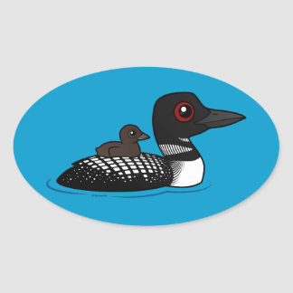 Loon with chick oval sticker