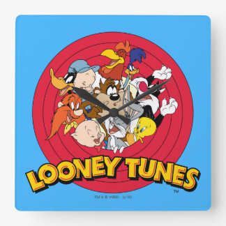 LOONEY TUNES™ Character Logo Square Wall Clock