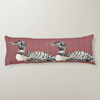 Loons on Patterned Body Cushion