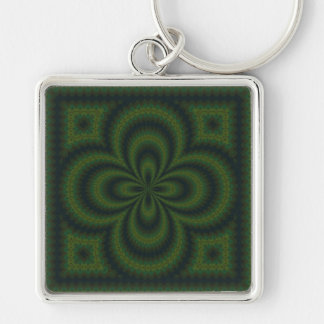 Loopedy Doo Kaleidoscope Mandala Silver-Colored Square Key Ring