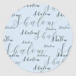 Loopy Elegant Shalom Text Classic Round Sticker