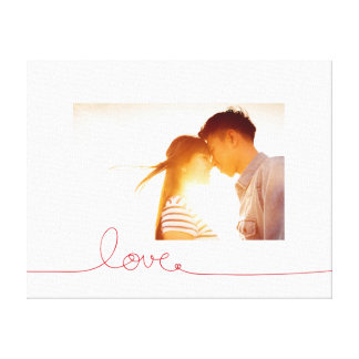 Loopy Love Heart String Knot Modern Photo Canvas Canvas Print