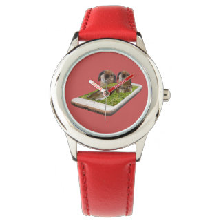 Lop Eared Bunny Rabbit Family Tech Swavy, Red Watch