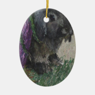 Lop eared  rabbit painting ceramic oval decoration