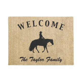 Loping Black Western Pleasure Horse Silhouette Doormat