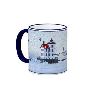 Lorain Lighthouse Ringer Coffee Mug