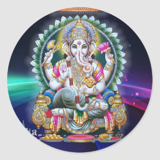 LORD GANESH HINDU GOD ROUND STICKER
