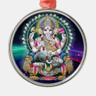 LORD GANESH HINDU GOD Silver-Colored ROUND DECORATION