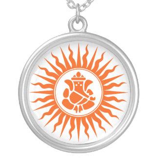 Lord Ganesha Design Round Pendant Necklace
