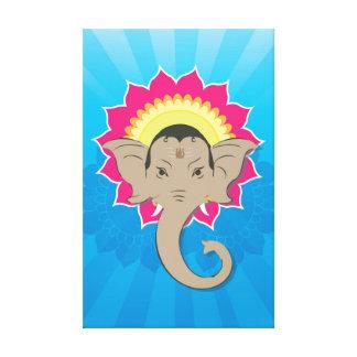 Lord Ganesha Digital Illustration with Mandala Art Canvas Print