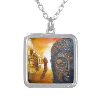 Lord Gautama Buddha Silver Plated Necklace